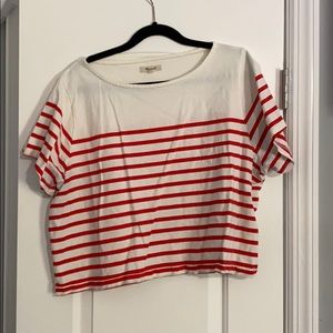 Madewell - Cream & Red Cropped Tee